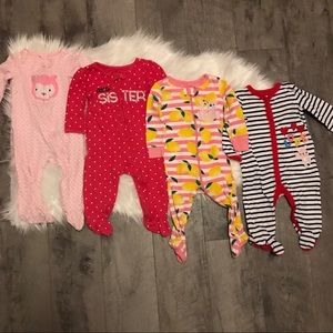 Bundle of baby girl footed sleepers 6-9 months lot